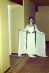 As Princess Leia, showing off those lovely sleeves.