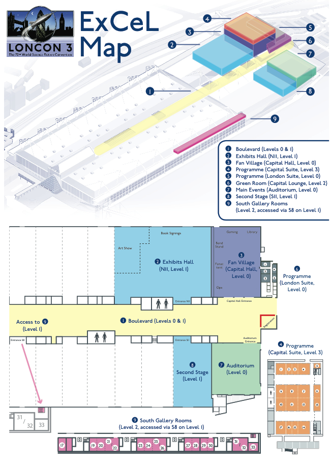 Loncon 3 sitemap. East entrance is to the right, West left, as you view the screen